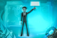 3d character holding sign board in one hand illustration Royalty Free Stock Photo