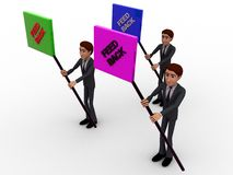 3d character holding sign boards with feedback text concept Royalty Free Stock Images