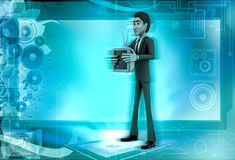 3d character holding television in hands illustration Stock Photos