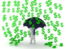 3D Character holding an umbrella while money rains Royalty Free Stock Photos