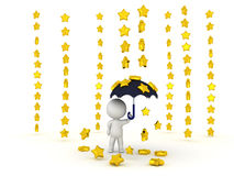 0538 3D Character holding umbrella while stars are raining down Royalty Free Stock Photography