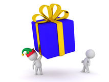3D Character Holding Up Large Gift Royalty Free Stock Images
