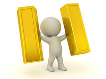 3D Character Holding Up Large Gold Bars. 3D character holding up two large gold bars.  on white background Stock Images