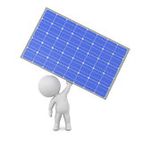 3D Character Holding Up a Solar Panel Stock Image