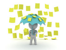 3D Character holds an umbrella while yellow post it sticky notes Stock Photos