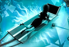 3d character on holiday with laptop illustration Stock Photography