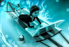 3d character on holiday with laptop illustration Royalty Free Stock Image