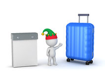 3D Character Holiday Traveling Concept with Calendar and Travel Stock Photo