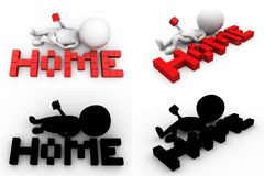 3d character with homw text concept collections with alpha and shadow channel Stock Photos
