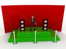 3d character hosting from a green stage with mic and speakers concept Stock Photos