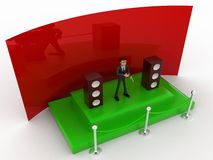3d character hosting from a green stage with mic and speakers concept Royalty Free Stock Image