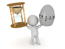 3D Character with an Hourglass and an Egg Timer Royalty Free Stock Photo