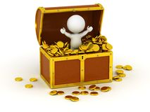 3D Character inside Treasure Chest with Gold Coins Stock Images