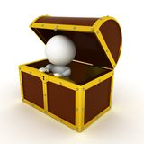 3D Character inside of a treasure chest. On white Royalty Free Stock Image