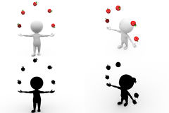 3d character juggling apple concept collections with alpha and shadow channel Stock Image