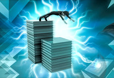 3d character jumping down from heap of books illustration Royalty Free Stock Image