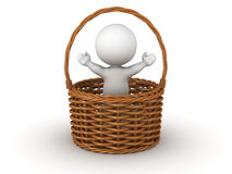 3D Character Jumping out of Wicker Basket Royalty Free Stock Image