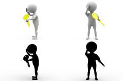 3d character key problem concept collections with alpha and shadow channel Stock Image