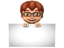 3D character - Kid with glasses holding a blank sign Stock Image