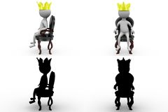 3d character king on the throne concept collections with alpha and shadow channel Stock Photos