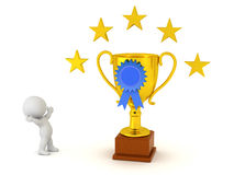 3D Character and Large Gold Trophy with Blue Ribbon and Stars Stock Photo