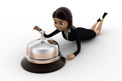 3d character laying down with calling bell concept Royalty Free Stock Image