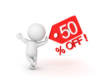 3D Character leaning on fifty percent sale off price tag which s. Hows sales promotion. Image can be used in any price reduction promotion Stock Photo