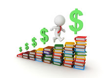 3D Character Learning More and Earning More. 3D character running up stacks of colorful books, with Dollar symbols behind him and ahead of him. Learning and Royalty Free Illustration