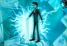 3d character with long mechanical spring illustration Royalty Free Stock Images