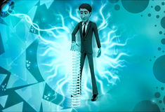 3d character with long mechanical spring illustration Stock Images