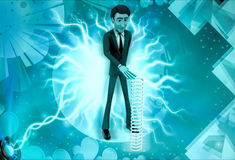 3d character with long mechanical spring illustration Royalty Free Stock Photography