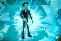 3d character with long mechanical spring illustration Stock Photography