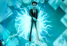 3d character with long mechanical spring illustration Royalty Free Stock Photo