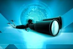 3d character looking through big binocular illustration Stock Image
