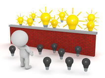 3D Character Looking Over Brick Wall to Light Bulb Ideas Royalty Free Stock Images