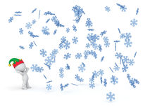 3D Character Looking up at Falling Winter Snowflakes Royalty Free Stock Photography