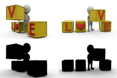3d character love cube concept collections with alpha and shadow channel Stock Photography