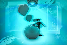 3d character love earth with hearts illustration Stock Photos