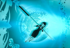 3d character lying with knife edge faced over illustration Royalty Free Stock Photography