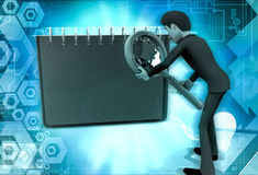 3d character with magnifying glass and diary illustration Royalty Free Stock Photography