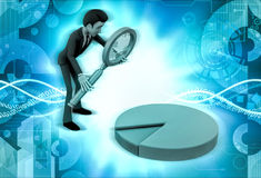 3d character with magnifying glass and pie chart illustration Royalty Free Stock Image