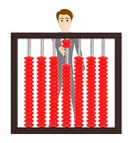 3d character , man and a abacus. 3d rendering Royalty Free Illustration