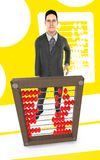 3d character , man and a abacus - yellow background. 3d rendering royalty free illustration