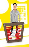 3d character , man and a abacus - yellow background. 3d rendering Vector Illustration