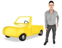 3d character , man , and a car vector illustration