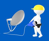 3d character , man character wearing safety cap and holding a cable pin connected towards a dish antenna. Blue  background - 3d rendering Stock Images