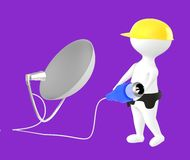 3d character , man character wearing safety cap and holding a cable pin connected towards a dish antenna. Purple  background - 3d rendering Stock Photos