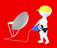 3d character , man character wearing safety cap and holding a cable pin connected towards a dish antenna. Red  background - 3d rendering Stock Photo