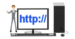 3d character , man and computer with http:// text displayed on monitor screen stock illustration