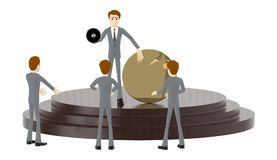 3d character man , holding a megaphone and showing a empty circle badge while standing over a podium with a three people listening vector illustration